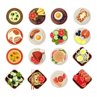 Set van gerechten met verschillende voedsel