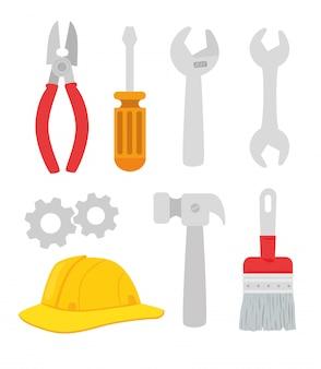 Set van gereedschappen constructie apparatuur