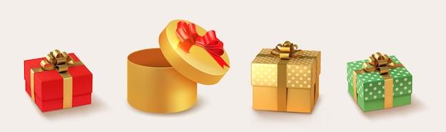 Set van geschenken box collectie realistische vector cadeau presenteert gouden en zilveren kerstcadeaus