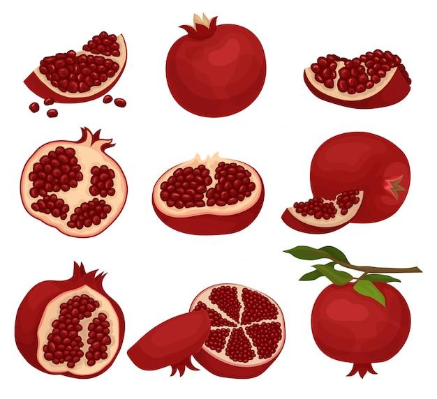 Set van gesneden en hele granaatappels. biologisch en smakelijk fruit vol sappige zaden. natuurlijk eten