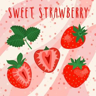 Set van gesneden en hele heldere aardbeien illustraties.