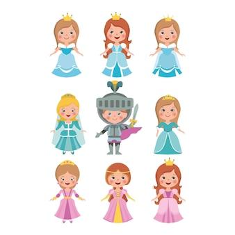 Set van gesneden kleine prinsessenpop en ridder