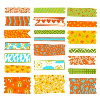 Set van getekende mooie washi-tapes