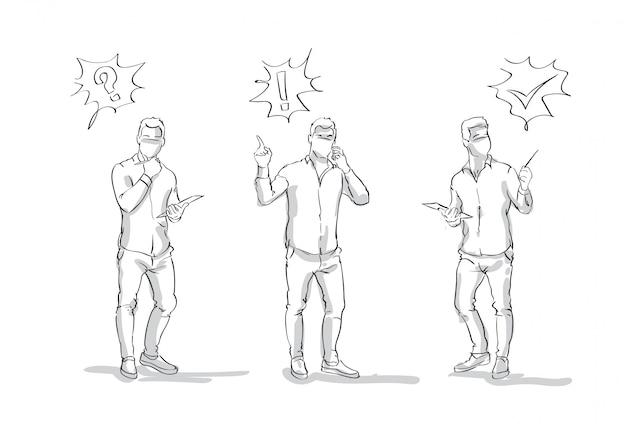 Set van getekende zakenlieden met verschillende emoties succes en probleem concept, zakenman silhouet volledige lengte