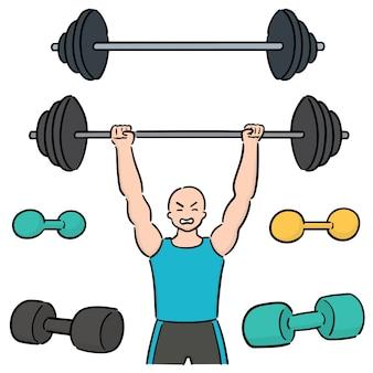 Set van gewichtheffer
