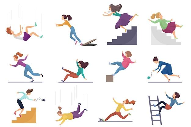 Set van gewonde vrouwelijke vrouw vallen van de trap en over de rand, ladder, vallen van hoogte