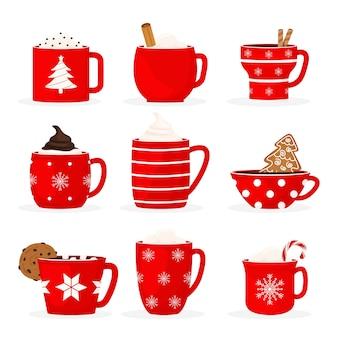 Set van gezellige en schattige winterdrankjes