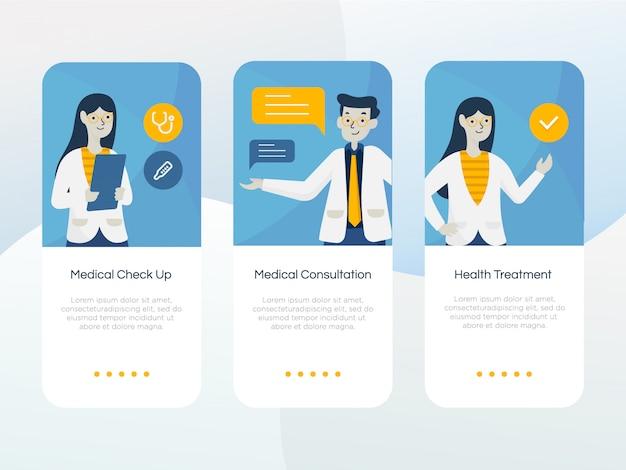 Set van gezondheidszorg onboarding scherm
