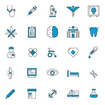 Set van gezondheidszorg pictogrammen
