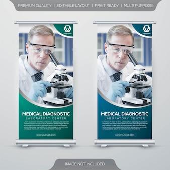 Set van gezondheidszorg rollup x-banner met eenvoudig concept