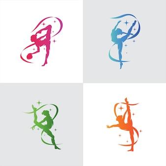 Set van gimnastiek met lintlogo