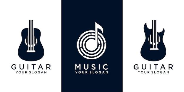 Set van gitaar en muziek logo ontwerpsjabloon. vectorillustratie