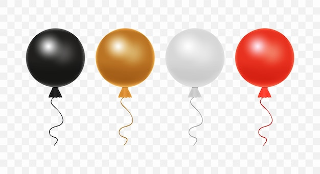 Set van glanzende realistische kleurrijke ballonnen geïsoleerd op transparante achtergrond. kleurrijke realistische heliumballonnen voor verjaardag, vakantie-evenementen, feesten, bruiloften: zwarte, bruine, grijze, rode kleuren.
