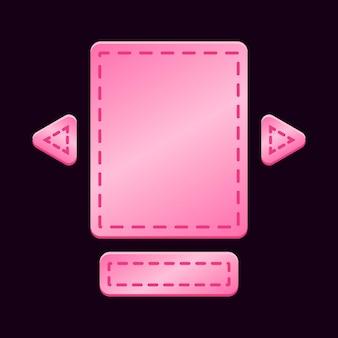 Set van glanzende roze game ui board pop-up sjabloon voor gui asset-elementen
