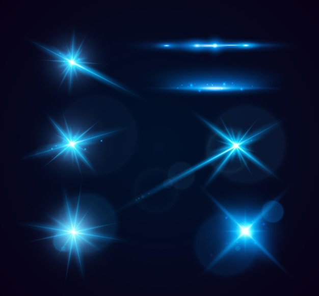 Set van glanzende sparkles en lens flares gloeiende lichten geïsoleerd op transparante achtergrond vector ill...