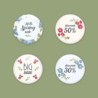 Set van glanzende verkoopknoppen of badges. productpromoties. grote verkoop, speciale aanbieding, 50 uit. voorjaarslabel ontwerp, voucher sjabloon. grote set. bloemen frame voor tekst, geïsoleerd op een witte achtergrond.