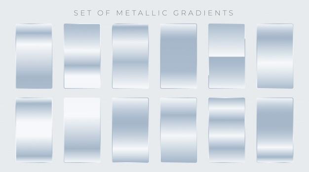 Set van glanzende zilveren hellingen