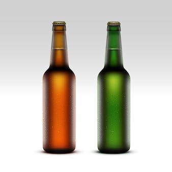 Set van glas bruin groene ijzige flessen met druppels
