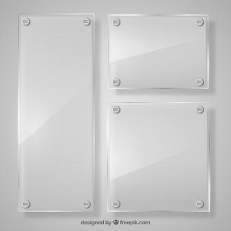 Set van glasframes in realistische stijl