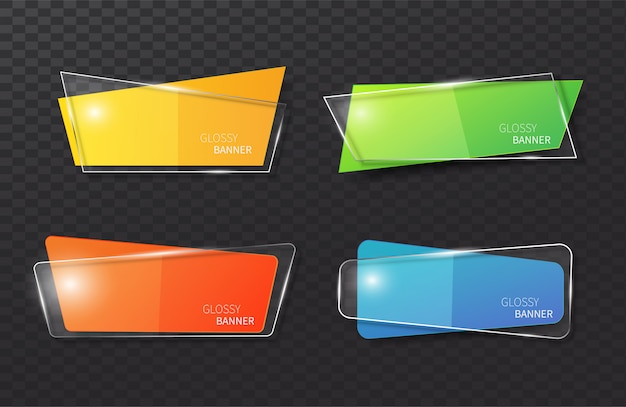Set van glazen banner geometrische vormen