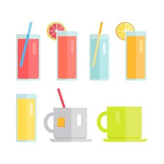 Set van glazen en kopjes met dranken vector.