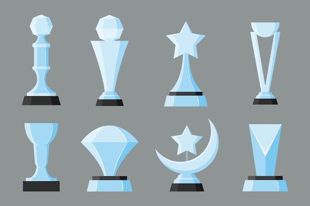 Set van glazen trofee award winnaar prijs kampioen beker