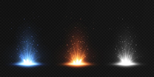 Set van gloeiend lens flare-effect. helder lichteffect.