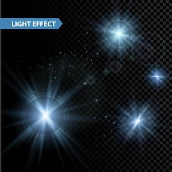 Set van gloeiende lichteffect sterren barst met sparkles op transparante achtergrond. illustratie Premium Vector