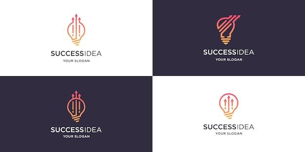 Set van gloeilamp en pijl logo-ontwerp in lijn kunststijl