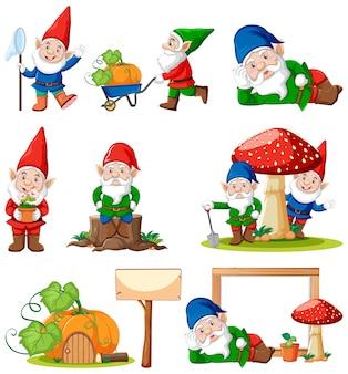 Set van gnome met tuingereedschap geïsoleerd