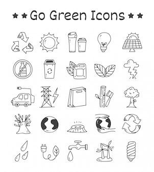 Set van go green pictogrammen in doodle stijl