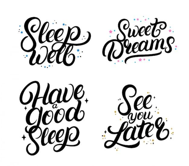 Set van goede nigth kalligrafie citaten. zoete dromen.
