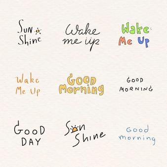 Set van goedemorgen woord