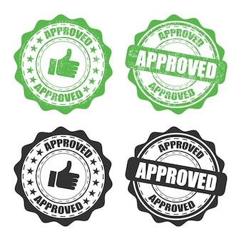 Set van goedgekeurde rubberzegel op een transparante achtergrond