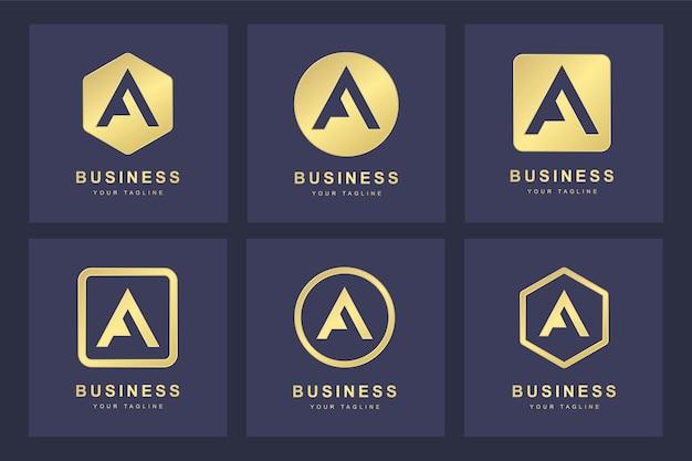 Set van golden a letter-logo met verschillende versies