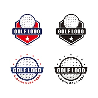 Set van golf logo sjabloon