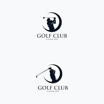 Set van golfspeler logo ontwerpsjabloon