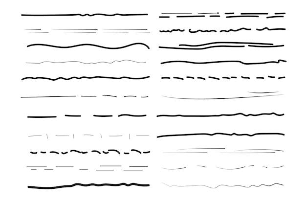 Set van golvende horizontale lijnen. set kunst penselen voor pen. marker handgetekende lijn grens set en krabbel ontwerpelementen. hand getekende grunge penseelstreken. vectorillustratie, eps-10.