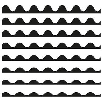 Set van golvende horizontale lijnen.