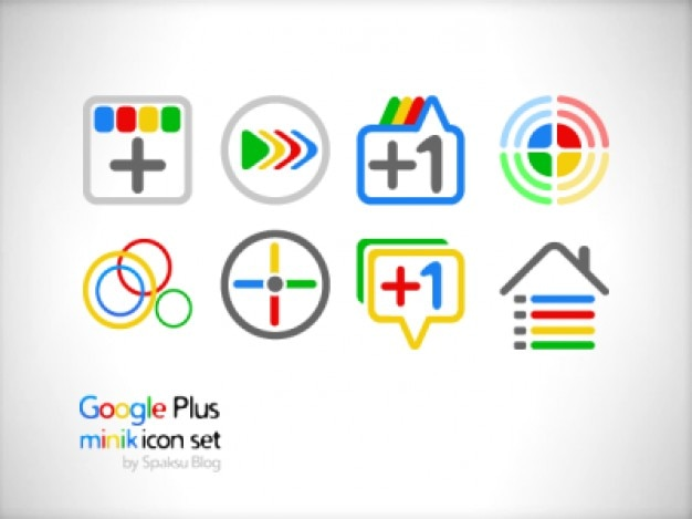 Set van google+ minik iconen