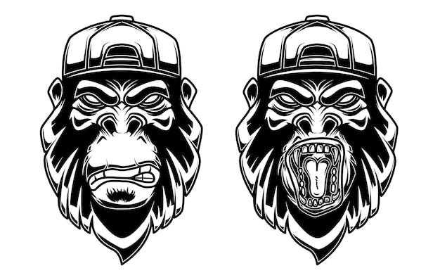 Set van gorilla in baseballpet op witte achtergrond. ontwerpelement voor logo, label, embleem, teken, poster, t-shirt.