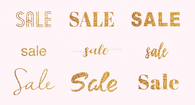 Set van goud glitter sprankelende verkoop letters