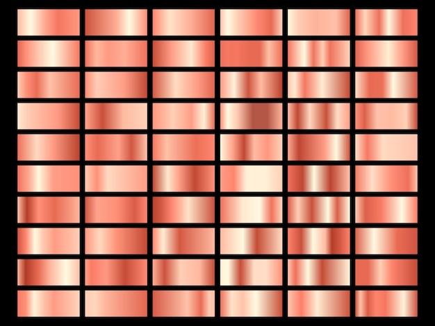 Set van goud roze folie textuur. inzameling van roze metaaltexturen die op zwarte achtergrond wordt geïsoleerd. illustratie.