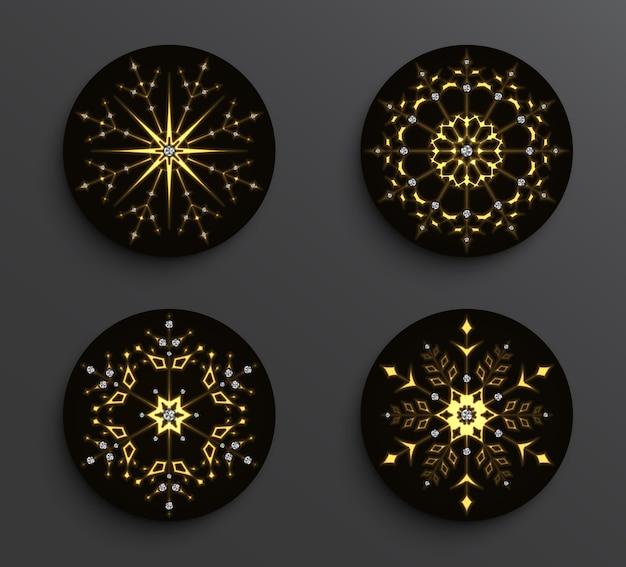 Set van gouden abstracte sneeuwvlok mandala's met diamanten op zwarte cirkel achtergrond.