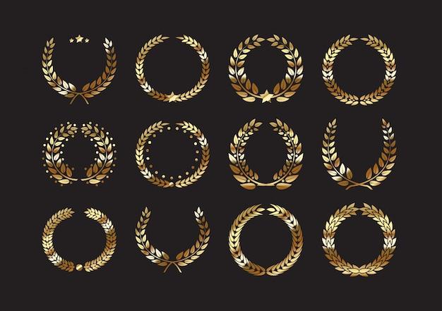 Set van gouden award lauwerkransen en takken