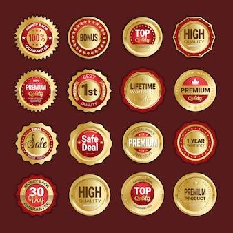 Set van gouden badges verkoop, productkwaliteit en geld terug badge geïsoleerd