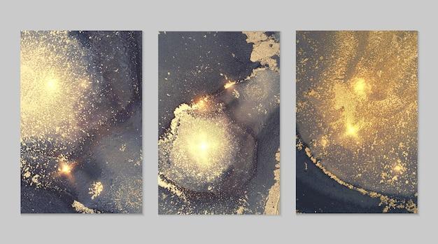 Set van gouden, blauwe en grijze texturen van geode en glitters, alcoholinkttechniek moderne verf met glitter