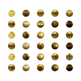 Set van gouden bol geïsoleerd op wit