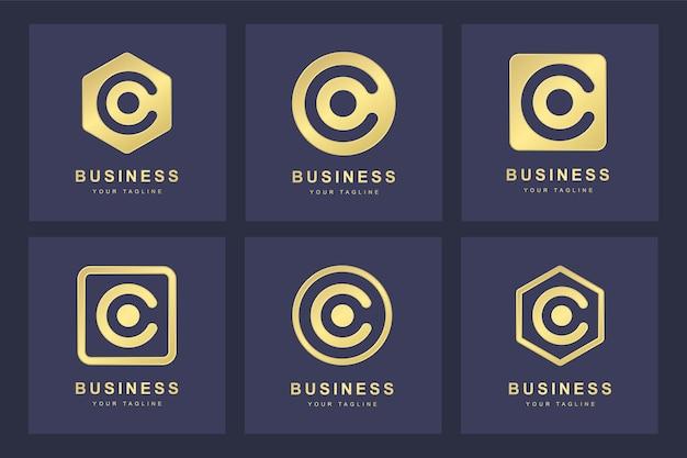 Set van gouden c brief logo met verschillende versies