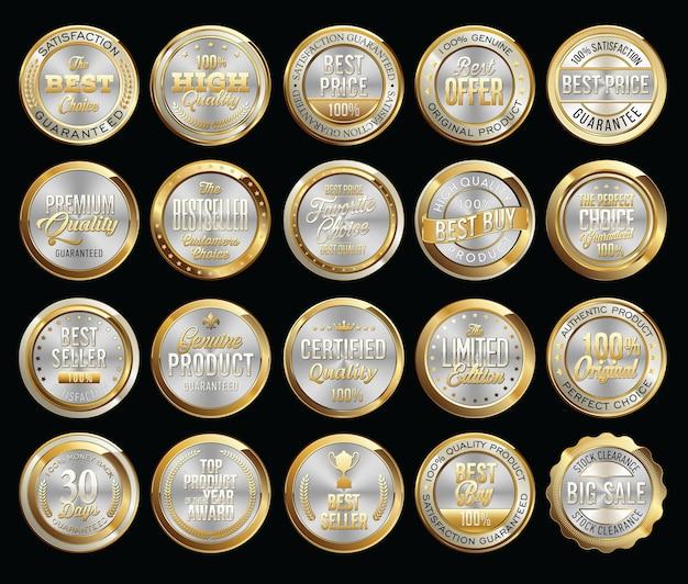Set van gouden certificaatzegels en badges
